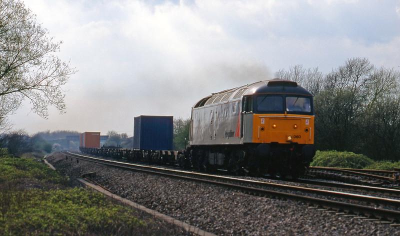 47060, 13.40 Cardiff Pengam-Southampton, Shrivenham, near Swindon, 7-4-98.