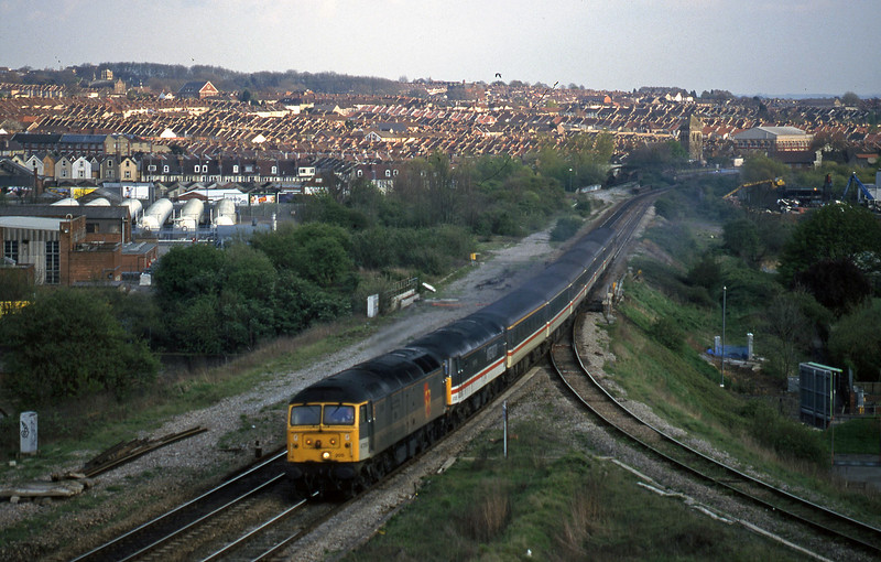 47200/47825, down pass, Narroways Hill Junction, Bristol, 7-4-98.