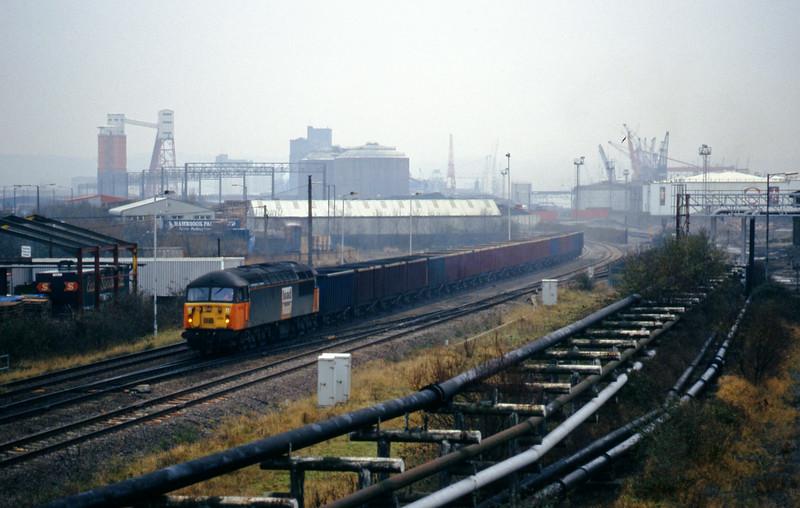 56035, empty MEAs to Avonmouth Bennett's Siding, Hallen Marsh, Avonmouth, 1-12-98.