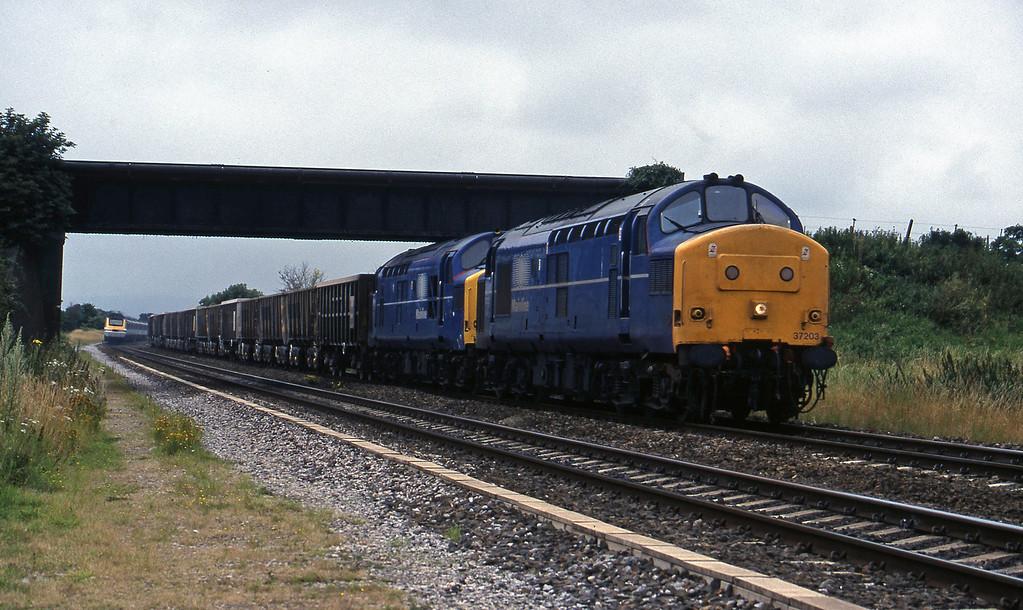 37203/37274, Exeter Riverside Yard-Merehead Quarry, Cogload, 28-7-98.