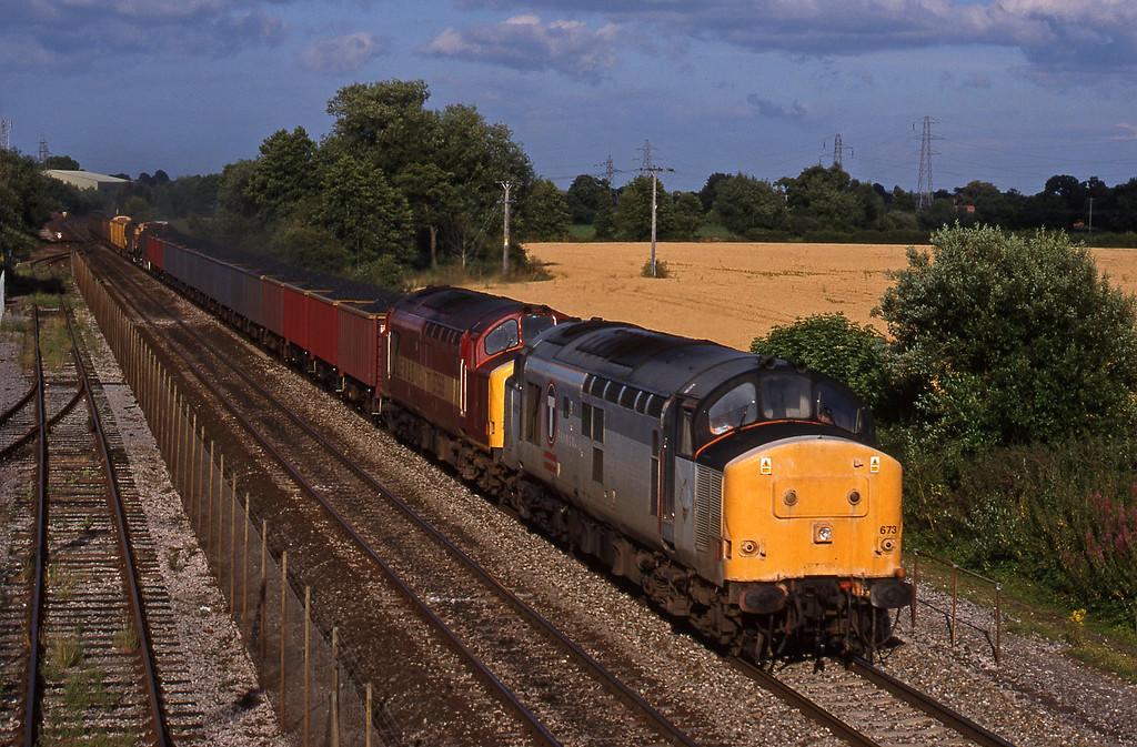 37673/37668, 14.50 Newport Alexandra Dock Junction-St Blazey, Norton Fitzwarren, near Taunton, 27-7-98.