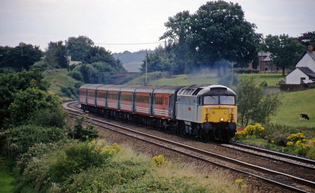 47702, 09.53 Penzance-Manchester Piccadilly, Rewe, near Exeter, 26-7-98.