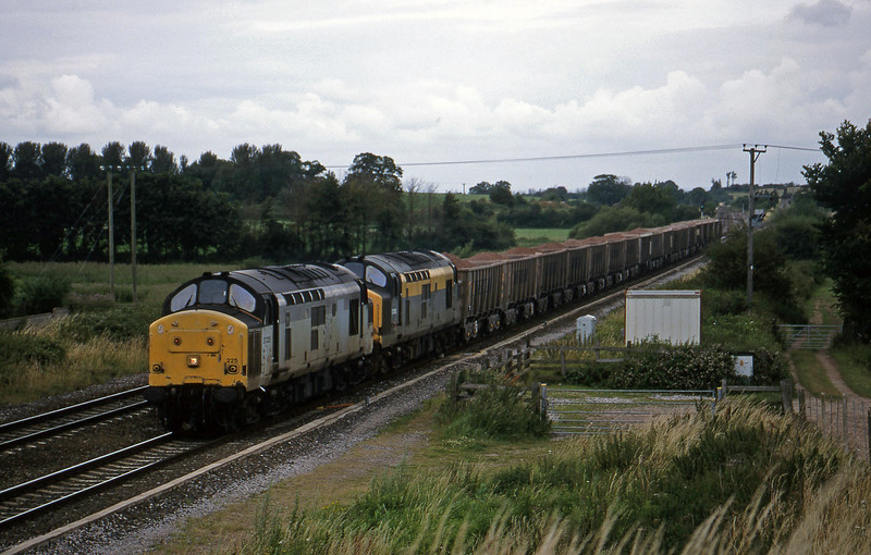 37225/37263, Merehead-Quarry-Exeter Riverside Yard, Cogload, 14-7-98.