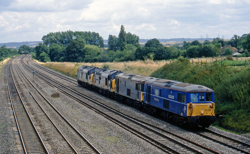 73136/73106/37898/37, down light, South Moreton, near Didcot, 21-7-98.