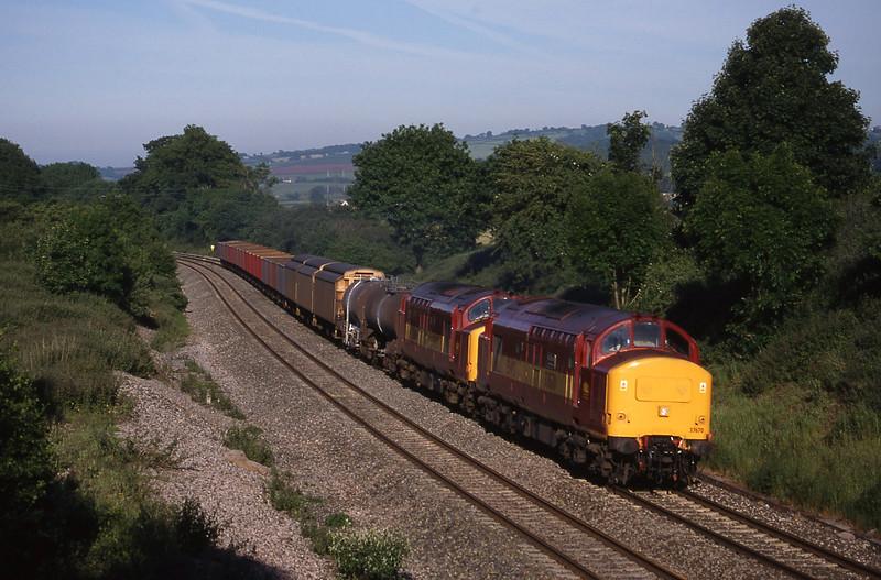 37670/37669, 04.18 St Blazey-Newport Alexandra Dock Junction, Whiteball, 4-6-98.