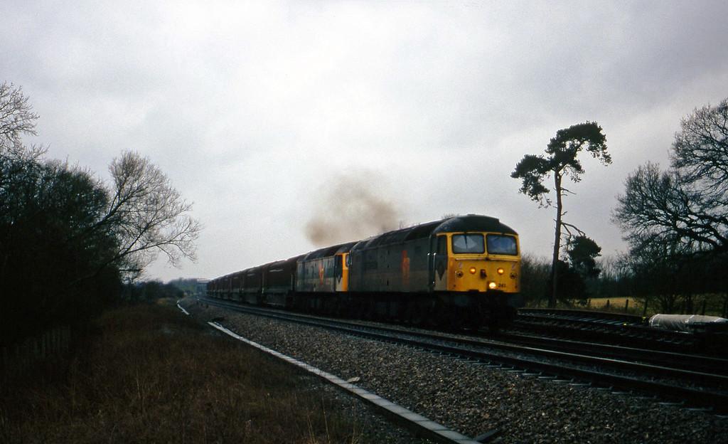 47241/47293, 14.15 Swindon-Longbridge. Shrivenham, near Swindon, 10-3-98.
