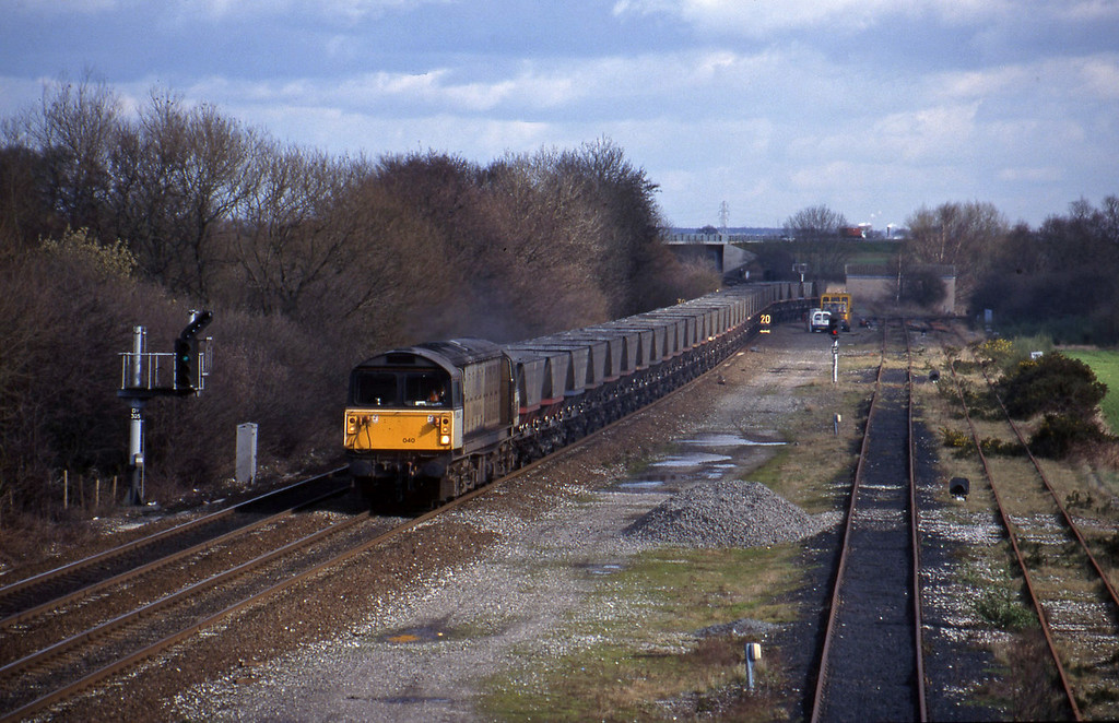 58040, mgr empties east-south, Stenson Junction, near Derby, 4-3-98.