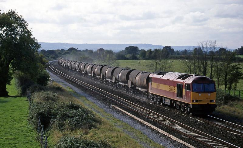 60019, 09.40 Burngullow-Newport Alexandra Dock Junction, Cogload, 18-10-98 Sunday).