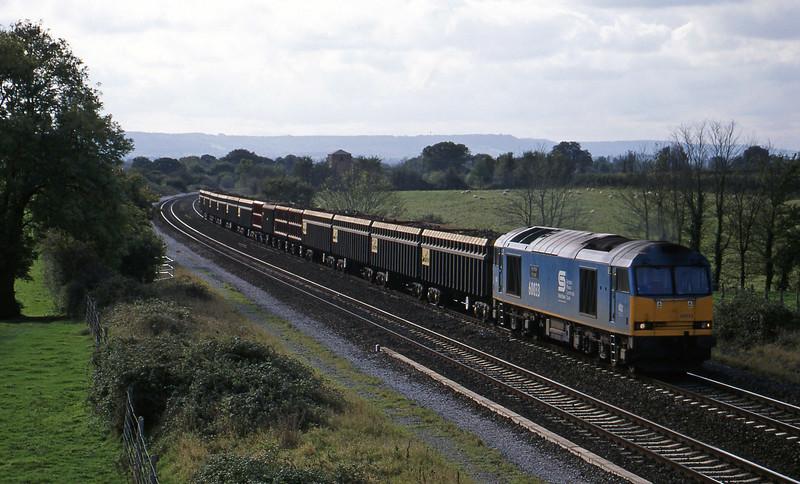 60033, 13.43 Exeter Riverside Yard-Cardiff Tidal, Cogload, 18-10-98 (Sunday).