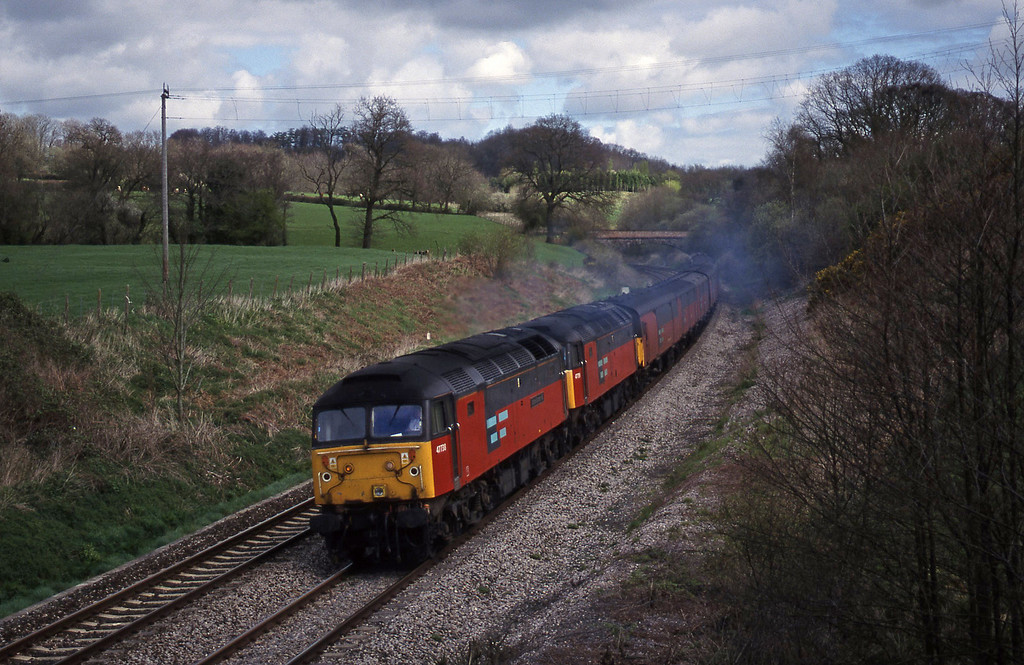 47738/47759, 12.15 Bristol Temple Meads-Plymouth, Whiteball, 7-4-99.