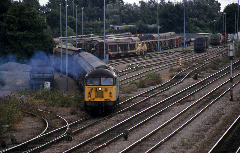 56072, 13.57 Cardiff Canton-Mossend, departing Newport Alexandra Dock Junction, 13-8-99.