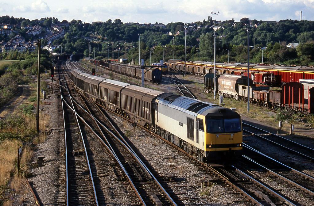 60013, 16-11 Ebbw Vale-Newport Alexandra Dock Junction-Margam, arrives Newport Alexandra Dock Junction, 3-8-99.