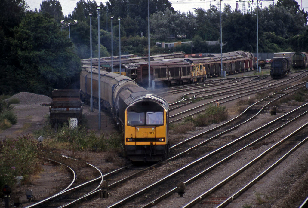 60080, 14.17 Newport Alexandra Dock Junction-St Blazey. departing Newport Alexandra Dock Junction, 13-8-99. 56072, 13.57 Cardiff Canton-Mossend.