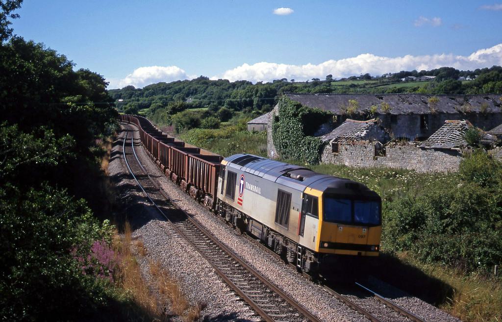 60097, 14.37 Port Talbot-Llanwern, Llangewydd Cort Farm, near Bridgend, 3-8-99.