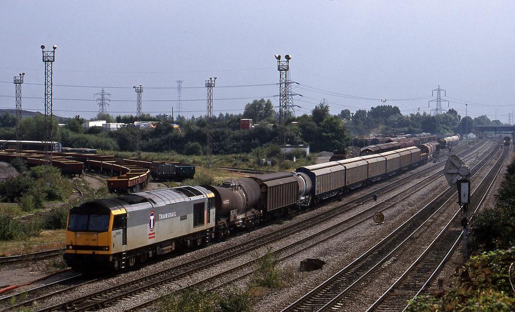 60080, 14.17 Newport Alexandra Dock Junction-St Blazey, departing, Newport Alexandra Dock Junction, 12-8-99.