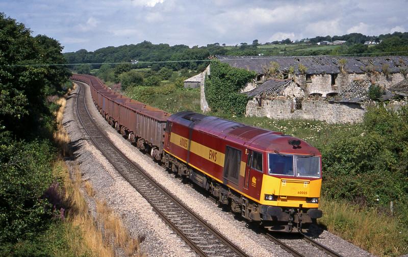60005, 11.02 Port Talbot-Llanwern, Llangewydd Court Farm, near Bridgend, 3-8-99.