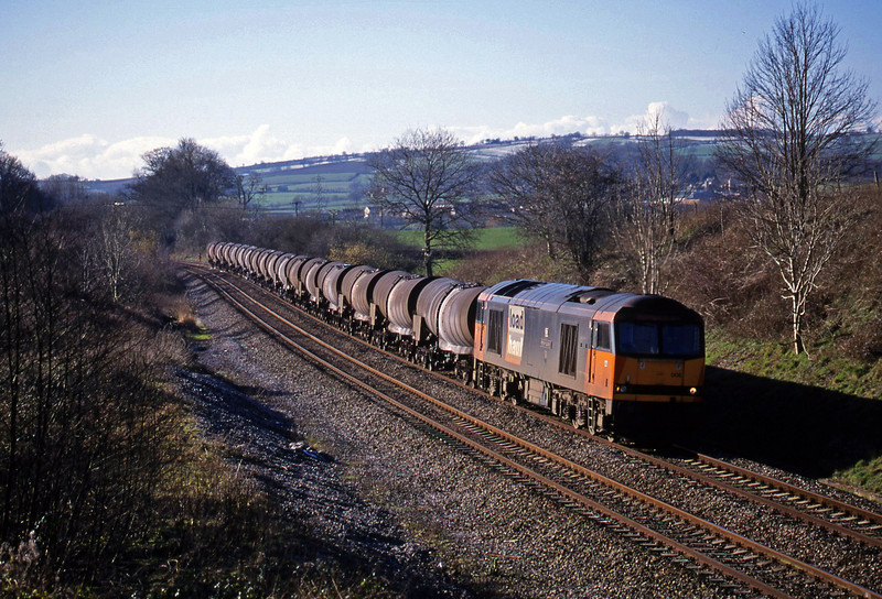 60008, 09.40 Burngullow-Newport Alexandra Dock Junction,  Whiteball, 10-2-99.