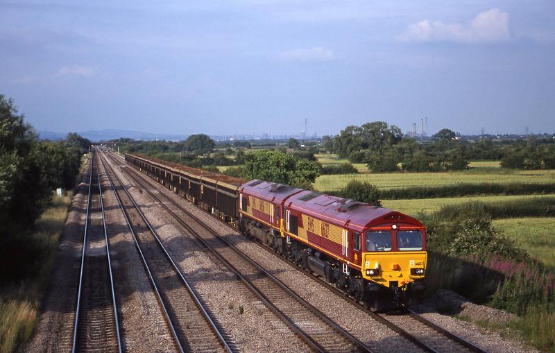 66127/66056, 13.45 Saltley-Cardiff Tidal, St Mellons,near Cardiff, 7-7-99.