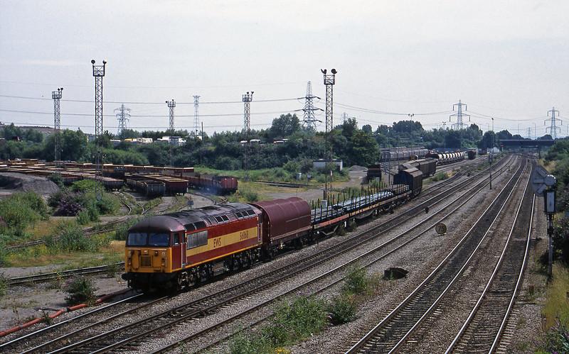 56068, 13.57 Cardiff-Mossend, departs Newport Alexandra Dock Junction, 7-7-99.