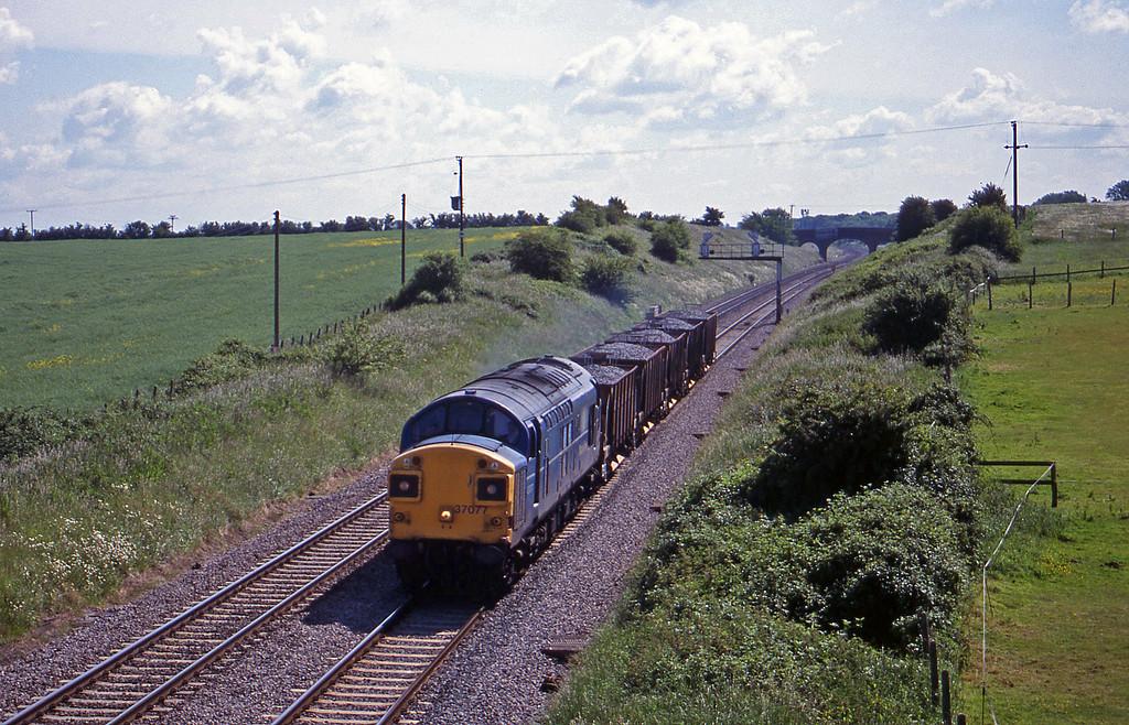 37077, down ballast, Bourton, near Swindon, 8-6-99.