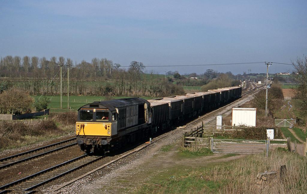 58017, 12.54 Merehead Quarry-Exeter Riverside Yard, Cogload, 17-3-99.