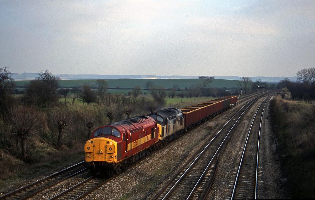 37040/37154, down MEAs to Margam, South Moreton, near Didcot, 16-3-99.