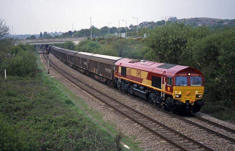 66103, 09.48 Swansea-Newport Alexandra Dock Junction, Brynna, near Bridgend, 4-5-99.