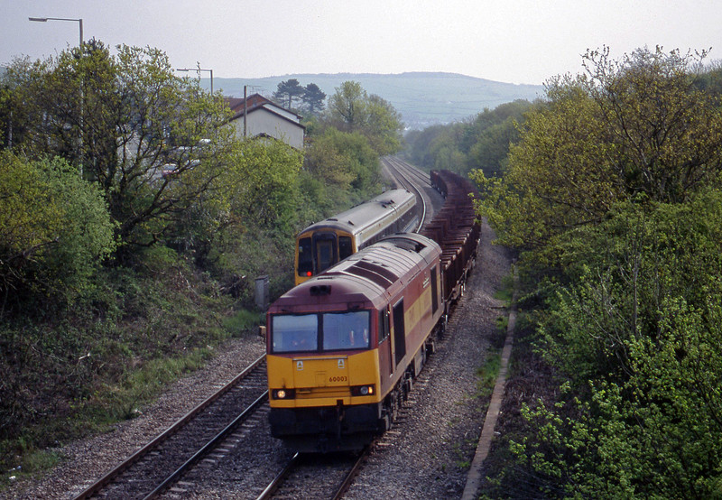 60003, down steel empties, Brynna, near Bridgend, 4-5-99.