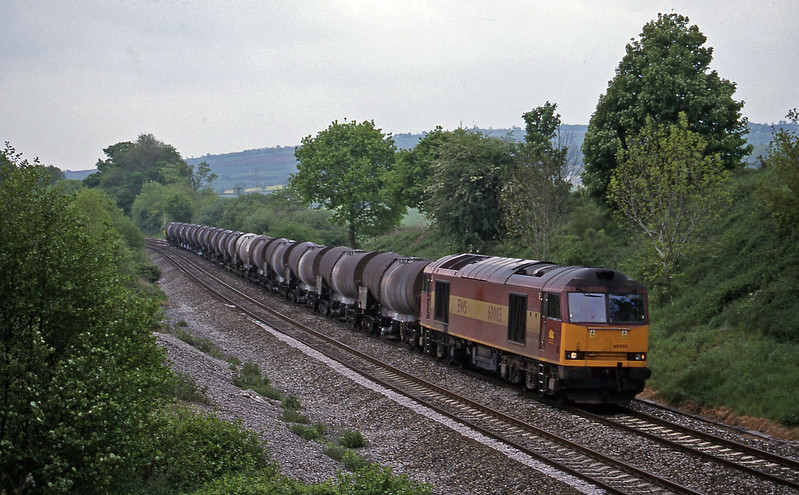 60005, 09.40 Burngullow-Newport Alexandra Dock Junction Yard, Whiteball, 15-5-99.