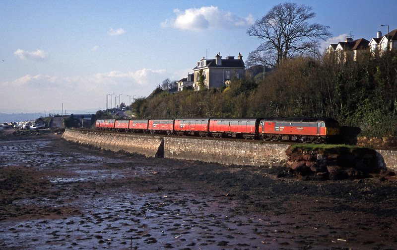 47734, 12.44 Plymouth Glasgow, Shaldon Bridge, Teignmouth, 9-11-99.