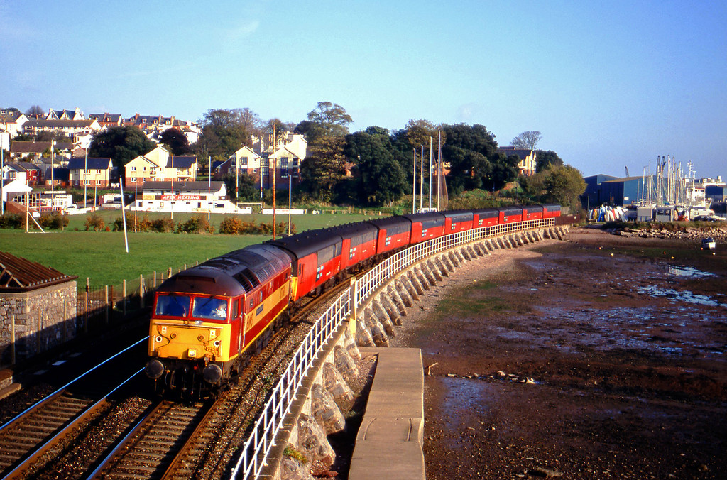47758, 12.15 Bristol Temple Meads-Plymouth, Shaldon Bridge, Teignmouth, 9-11-99.