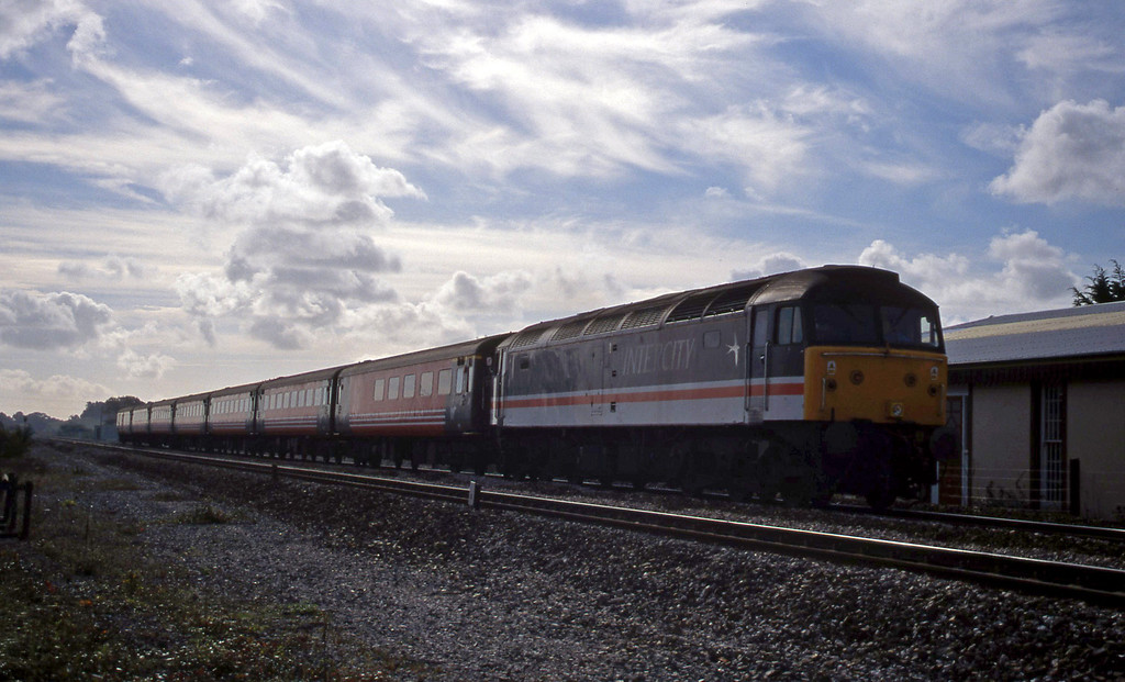 47853, 08.48 Penzance-Manchester Piccadilly, Exminster, near Exeter, 11-10-99.