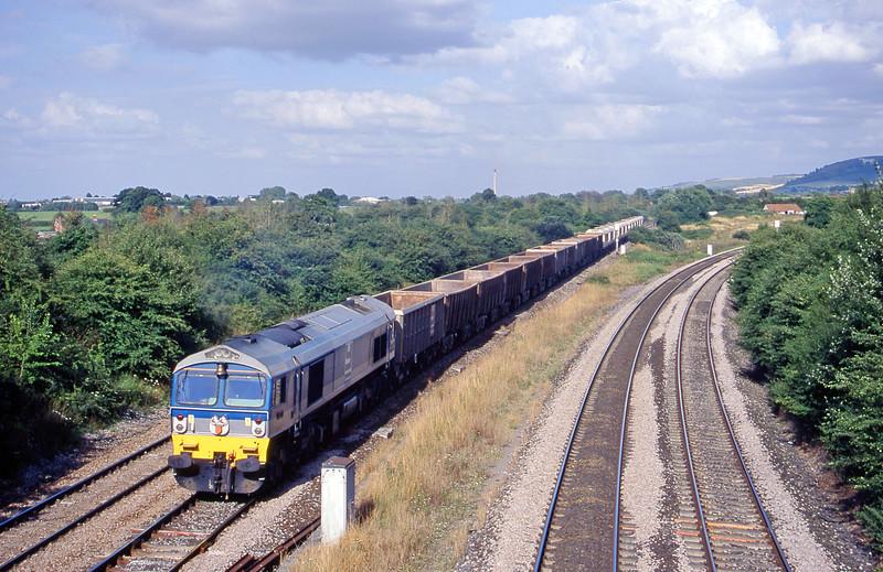 59001, down stone empties, Fairwood Junction, Westbury, 1-8-00.