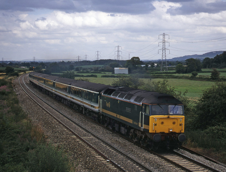 47813, 14.03 London Paddington-Plymouth, Berkley Marsh, near Frome,1-8-00.