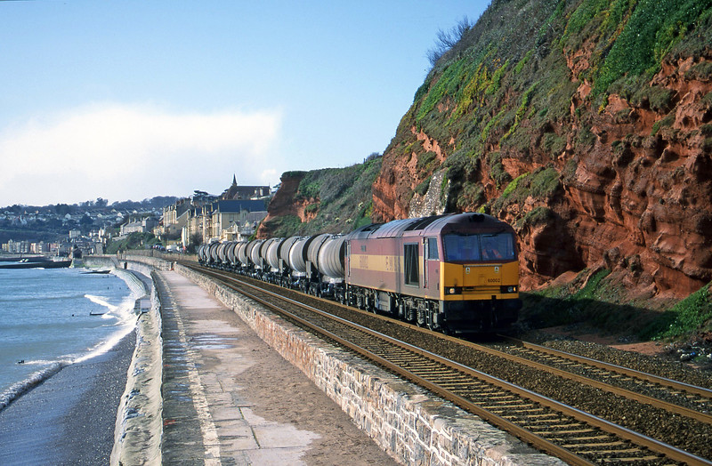 60002, 09.40 Burngullow-Newport Alexandra Dock Junction Yard, Dawlish, 16-2-00.