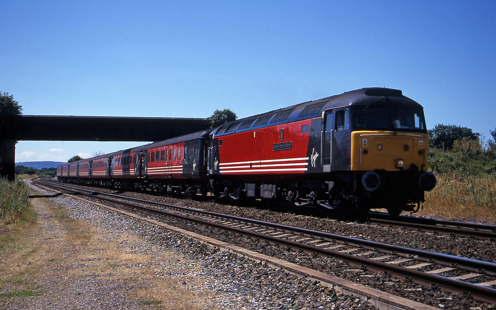 47849, 08.48 Penzance-Manchester Piccadilly, Cogload, 18-7-00. Late. First train over suspected rail fault.