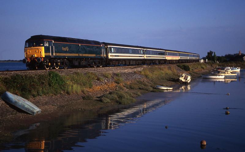 47815, 18.30 Plymouth-London Paddington,  Cockwood Harbour, near Starcross, 18-7-00.