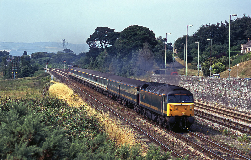 47811, 12.03 London Paddington-Penzance (late), 150267, 15-14 Paignton-Exmouth, Aller Divergence, Newton Abbot, 25-7-00.