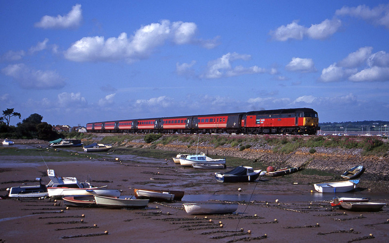 47769, 08.40 Glasgow-Penzance, Cockwood Harbour, near Starcross, 6-6-00.