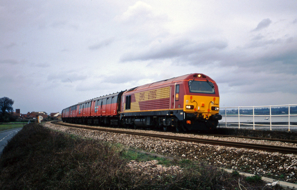 67005, Exeter St David's-Plymouth test train, Cockwood Harbour, near Starcross, 7-3-00.