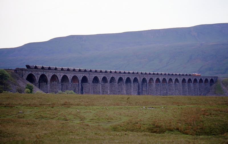 66056, down mgr empties, Ribblehead Viaduct, 31-5-00.