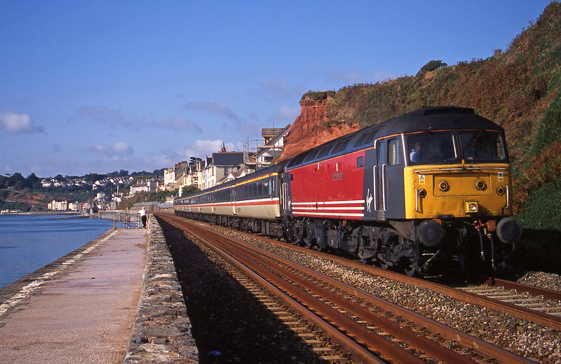 47845, 08.58 Paignton-Edinburgh, Dawlish, 2-9-00.