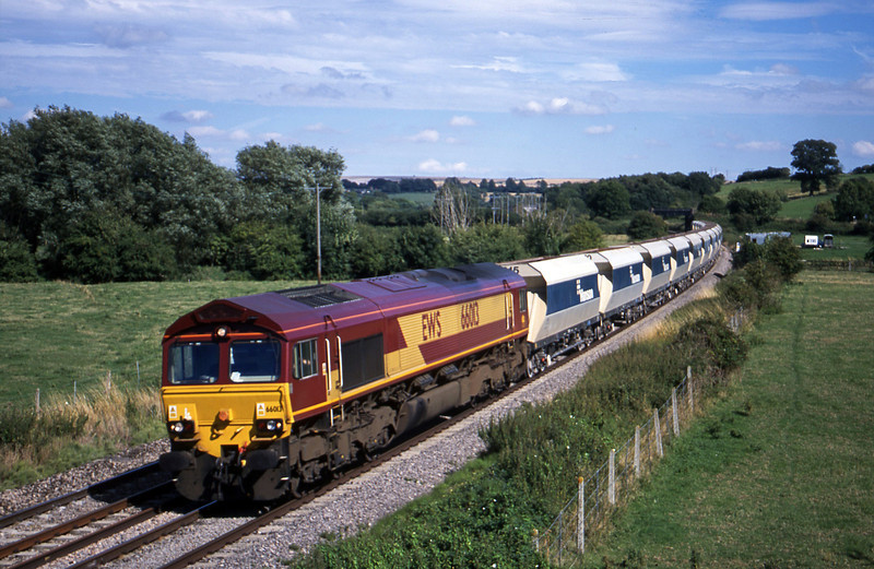 66013, down stone empties, Great Cheverell, near Devizes, 21-8-01.