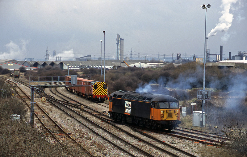 56085, departs up light, Hallen Marsh Junction, Avonmouth, 27-2-01. 08500, shunting.