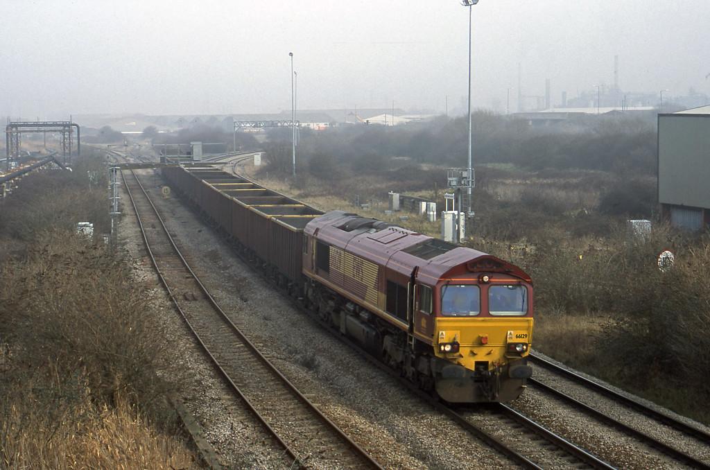 66129, 07.22 Didcot Yard-Avonmouth, Hallen Marsh Junction, 20-2-01.