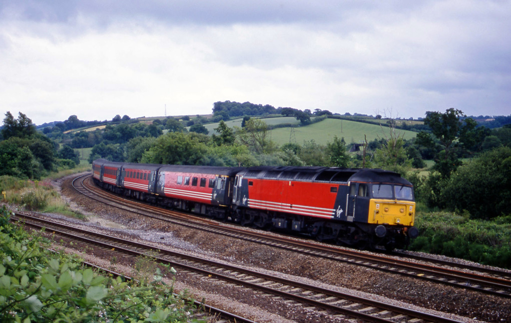 47806, 08.48 Penzance-Manchester Piccadilly, Aller Divergence, near Newton Abbot, 6-7-01.