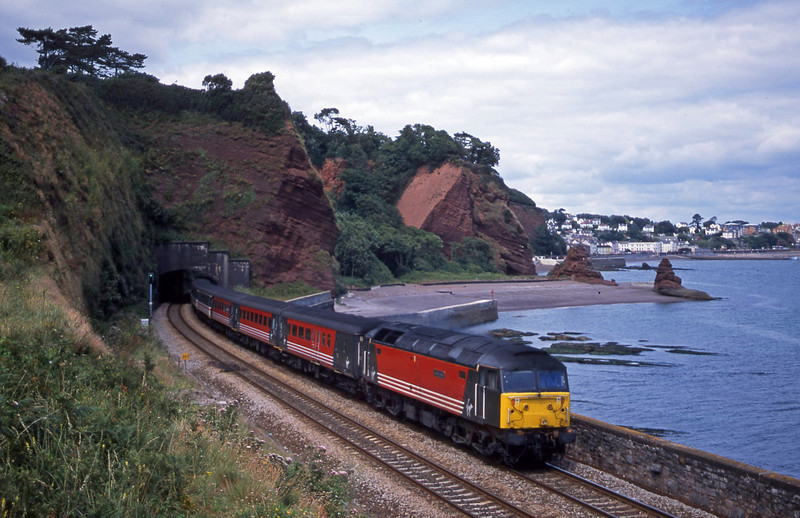 47849, 11.50 Plymouth-Liverpool Lime Street, Dawlish, 24-7-01.