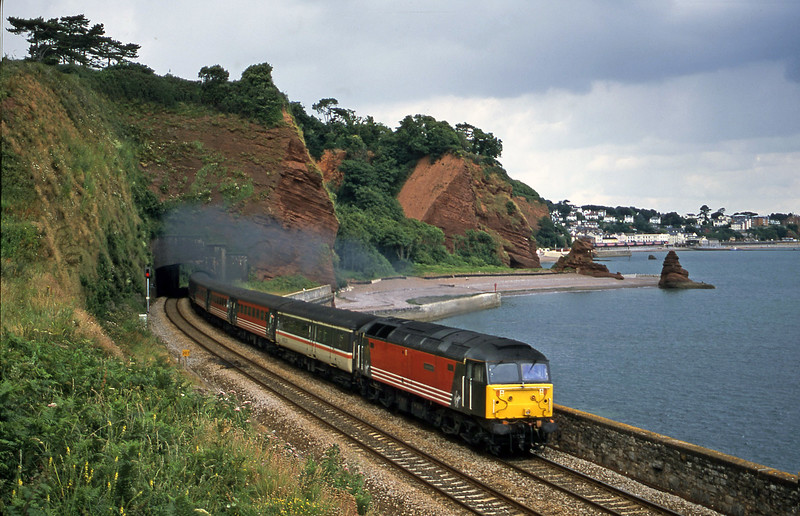 47747, 09.17 Manchester Piccadilly-Paignton, Horse Cove, Dawlish, 14-7-01.