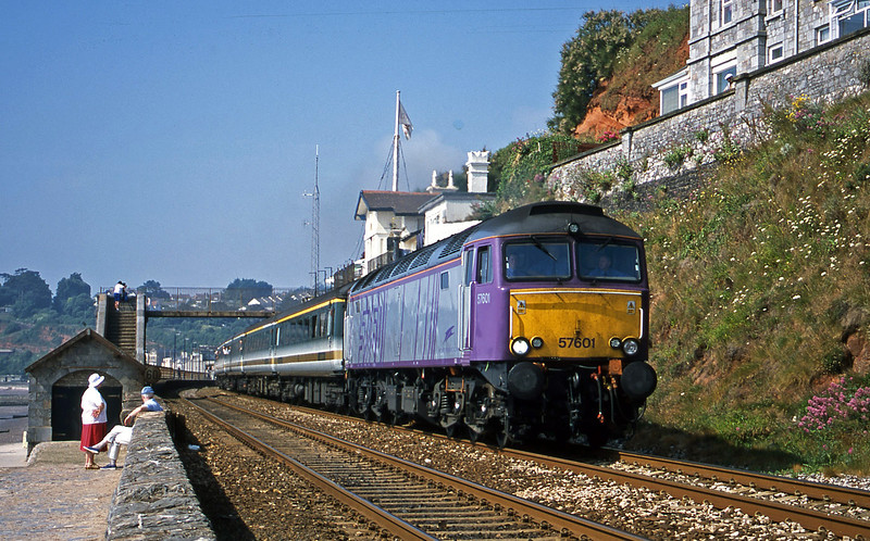 57601, 09.20 Plymouth-London Paddington, Dawlish, 3-7-01.