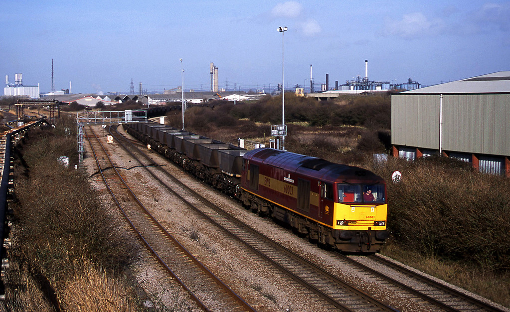 60003, Didcot Power Station-Avonmouth Bulk Handling Terminal, Hallen Marsh Junction,  Avonmouth, 7-3-01.